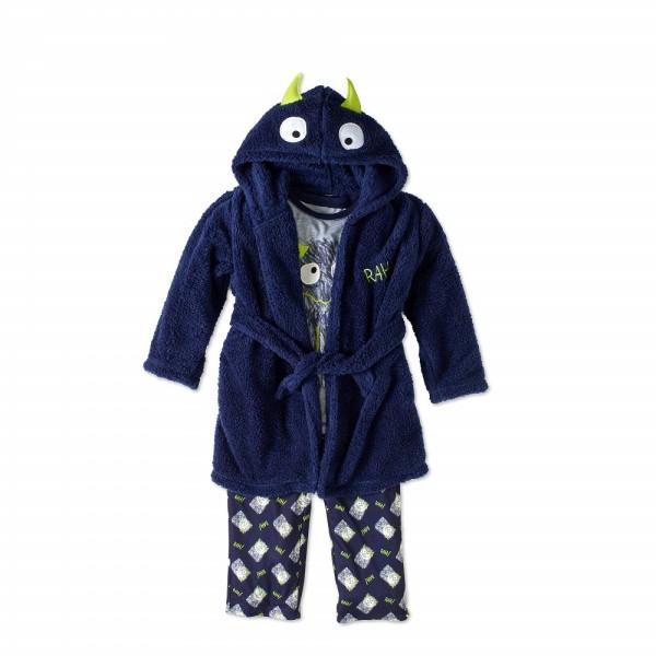 """Детский комплект микрофлисовый из 3 предметов халат и пижама на мальчика """"Добрый монстр"""""""
