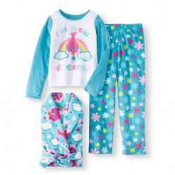 """Детский комплект микрофлисовый из 3 предметов халат и пижама на девочку """"Тролли. Розочка"""""""