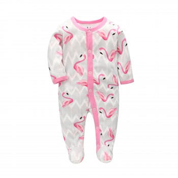 """Слип хлопковый для новорожденного """"Розовые фламинго"""""""