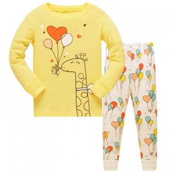"""Детская пижама для девочки из 2 предметов """"Любовь и шарики"""""""
