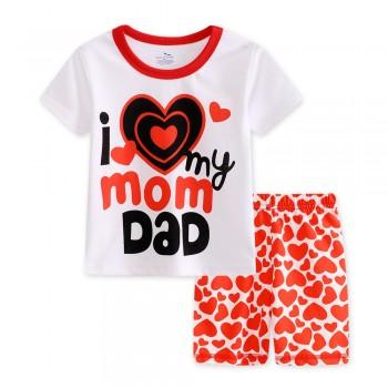 """Детская пижама для девочки из 2 предметов """"Люблю маму и папу"""""""