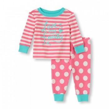 """Детская пижама для девочки из 2 предметов """"Люблю свою семью"""""""