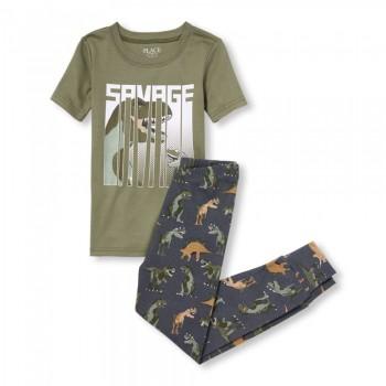 """Детская пижама для мальчика из 2 предметов """"Тирекс в джунглях"""""""