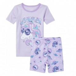 """Детская пижама для девочки из 2 предметов сиреневая """"Супер звезда"""""""
