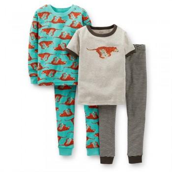 """Детская пижама для мальчика из 4 предметов """"Быстрый тигр"""""""