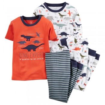 """Детская пижама для мальчика из 4 предметов """"Эксперт по динозаврам"""""""
