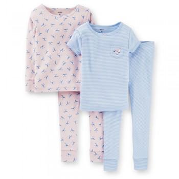 """Детская пижама для девочки из 4 предметов """"Ранняя птичка"""""""