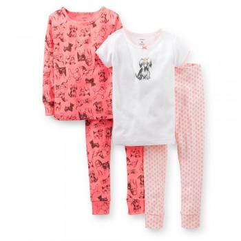 """Детская пижама для девочки из 4 предметов """"Очаровательная собачка"""""""