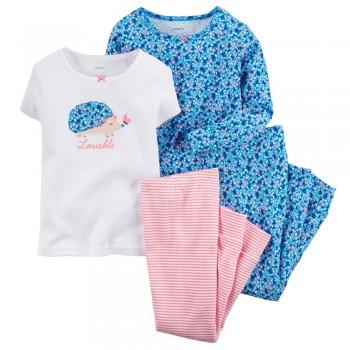 """Детская пижама для девочки из 4 предметов """"Милый ежик"""""""