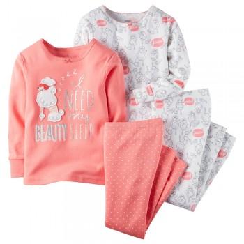 """Детская пижама для девочки из 4 предметов """"Модный пудель"""""""