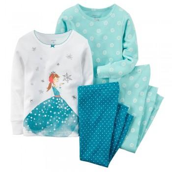 """Детская пижама для девочки из 4 предметов """"Снежная принцесса"""""""