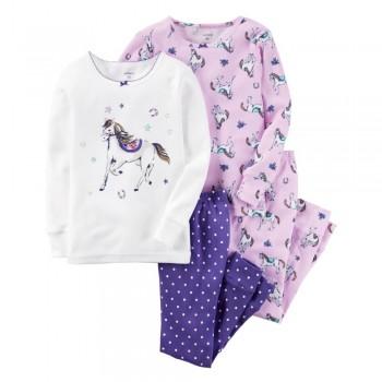 """Детская пижама для девочки из 4 предметов """"Сказочная лошадка"""""""