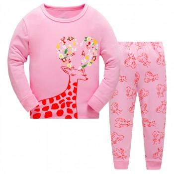 """Детская пижама для девочки из 2 предметов """"Цветочная лань"""""""