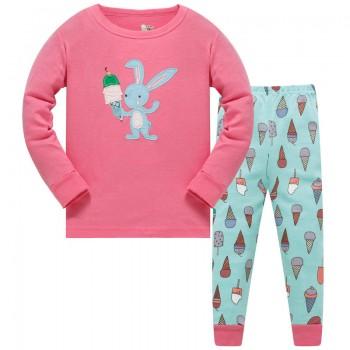 """Детская пижама для девочки из 2 предметов """"Зайка сладкоежка"""""""
