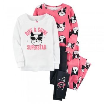 """Детская пижама для девочки из 4 предметов """"Блестящая супер звезда"""""""