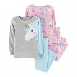"""Детская пижама для девочки из 4 предметов """"Сказочный единорог"""""""