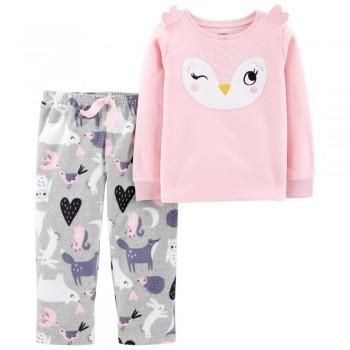"""Детская пижама микрофлисовая из 2 предметов для девочки """"Нежная совушка"""""""