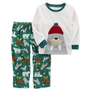 """Детская пижама микрофлисовая из 2 предметов для мальчика """"Северные обитатели"""""""