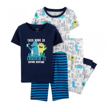 """Детская пижама для мальчика из 4 предметов """"Монстры в городе"""""""