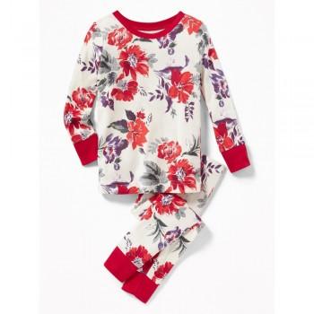 """Детская пижама для девочки из 2 предметов """"Красные цветы"""""""