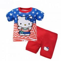 """Детская пижама для девочки из 2 предметов """"Хелло Китти. Американская девчонка"""""""