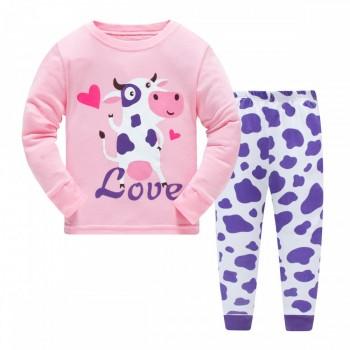"""Детская пижама для девочки из 2 предметов """"Любящая коровка"""""""