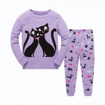 """Детская пижама для девочки из 2 предметов """"Влюбленные кошечки"""""""
