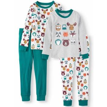 """Детская пижама для мальчика из 4 предметов """"Лесные жители"""""""