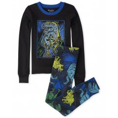 """Детская пижама для мальчика из 2 предметов темно-синяя """"Кристальный динозавр"""""""