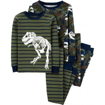 """Детская пижама для мальчика из 4 предметов """"Скелеты динозавров"""""""