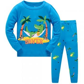 """Детская пижама для мальчика из 2 предметов """"Крокодил на отдыхе"""""""