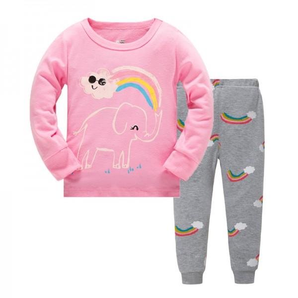 """Детская пижама для девочки из 2 предметов """"Слоник и радуга"""""""