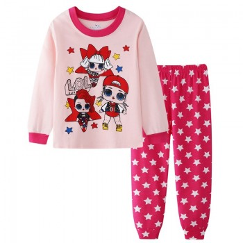 """Детская пижама для девочки из 2 предметов """"Веселые куклы. Модные звездочки"""""""
