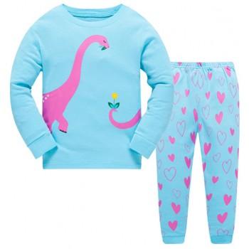 """Детская пижама для девочки из 2 предметов """"Влюбленный динозавр"""""""