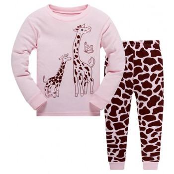 """Детская пижама для девочки из 2 предметов """"Дружные жирафы"""""""