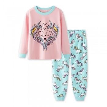 """Детская пижама для девочки из 2 предметов """"Влюблённые единороги"""""""