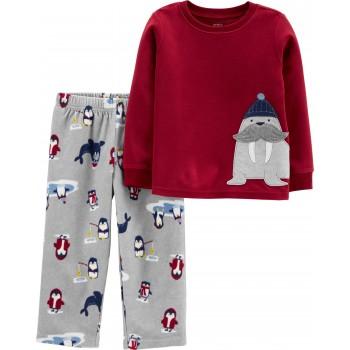 """Детская пижама микрофлисовая из 2 предметов для мальчика """"Северный моржик"""""""
