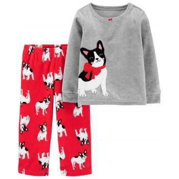 """Детская пижама микрофлисовая из 2 предметов для девочки """"Собачка с бантиком"""""""