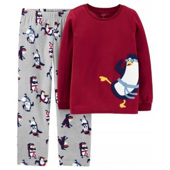 """Детская пижама микрофлисовая из 2 предметов для мальчика """"Пингвин ниндзя"""""""