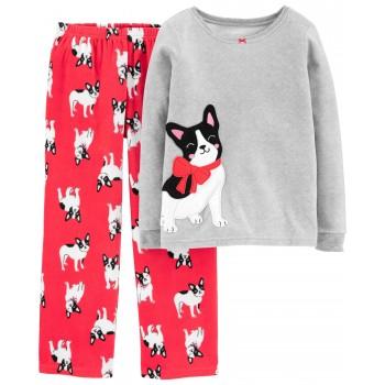 """Детская пижама микрофлисовая из 2 предметов для девочки """"Собачка с бантиком - 2"""""""