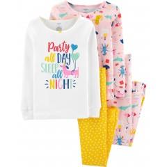 """Детская пижама для девочки из 4 предметов """"Пати днем и сон ночью"""""""