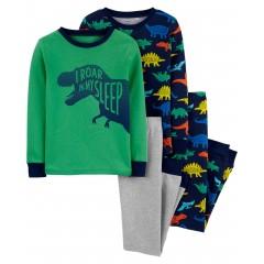 """Пижама из 4 предметов для мальчика """"Я рычу во сне"""""""