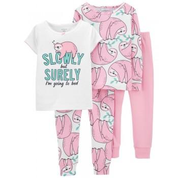 """Пижама из 4 предметов для девочки """"Сонный ленивец"""""""