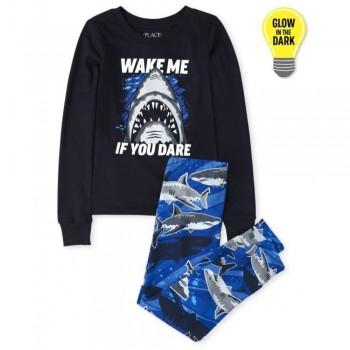 """Пижама из 2 предметов для мальчика синяя """"Разбуди меня если посмеешь"""""""