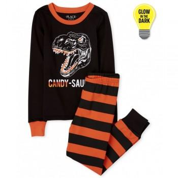 """іжама з 2 предметів для хлопчика чорна """"Цукерковий динозавр"""""""