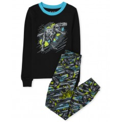 """Пижама из 2 предметов для мальчика черная """"Компьютерный динозавр"""""""