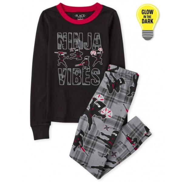"""Пижама из 2 предметов для мальчика черная """"Флюиды Ниндзяго"""""""