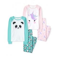 """Пижама из 4 предметов для девочки """"Единорог и панда"""""""