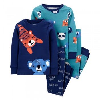 """Пижама из 4 предметов для мальчика """"Няшные звери"""""""