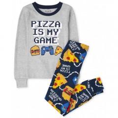 """Пижама из 2 предметов для мальчика серо-синяя """"Пицца и игры"""""""